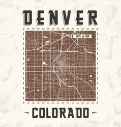 Denver streets t shirt design with city map vector