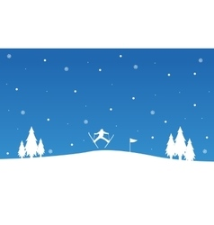 Silhouette of people ski landscape winter vector