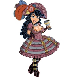 Sexy steampunk pirate girl vector