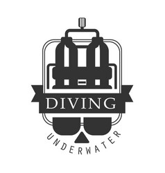 Diving underwater logo black and white vector