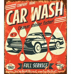 Retro car wash sign vector