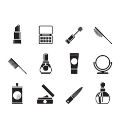 Silhouette cosmetic and make-up icons vector