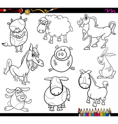 farm animals coloring page vector image