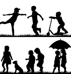 Children silhouettes playing vector