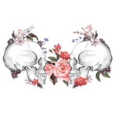Roses and skull day of the dead vector