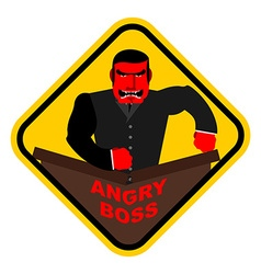 Ferocious boss chief businessman red with anger vector