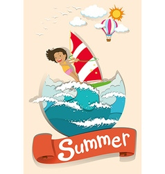 Summer scene with woman surfing vector