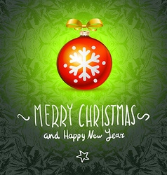 Merry christmas and happy new year card art ball vector