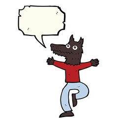 Cartoon wolf man with speech bubble vector