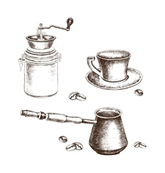Hand-drawing coffee set with coffee beans vector