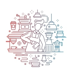 Male barista making coffee - line design vector