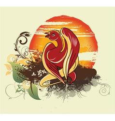 bird with grunge vector image