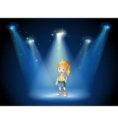 A girl under the spotlights vector