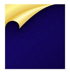 Blue paper with vintage texture and curled golden vector
