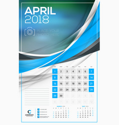 calendar template for 2018 year april design vector image vector image