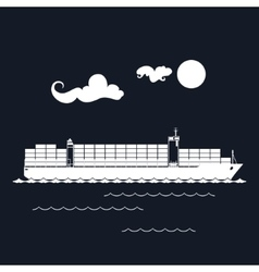 Cargo container ship isolated on black vector