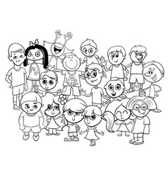 children characters group coloring book vector image vector image