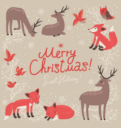 Christmas card with deer and fox vector