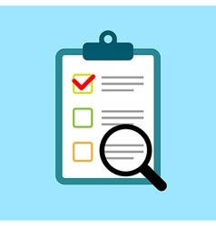 Clipboard with survey quiz or report vector