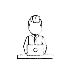 Figure profesional businessman with laptop and vector