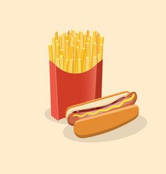 French fries in paper box and hot dog with mustard vector