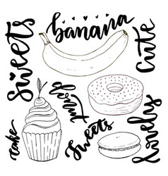 Hand drawn sweets doodle set sketches sweets - vector