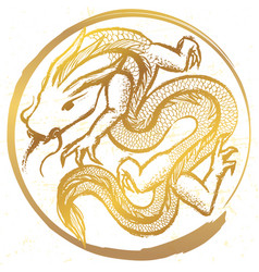Ink hand drawn stylized chinese dragon round vector