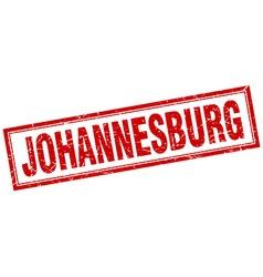 Johannesburg red square grunge stamp on white vector