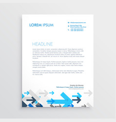 letterhead design template with blue arrows in vector image vector image