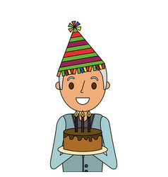 Older man grandpa holding birthday cake and party vector