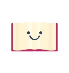 Open book primitive icon with smiley face vector