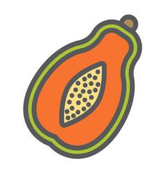 Papaya line icon fruit and tropical vector
