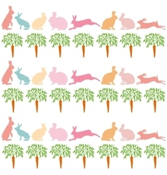 Rabbits and carrots on a white background vector