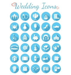 Round flat wedding icons vector