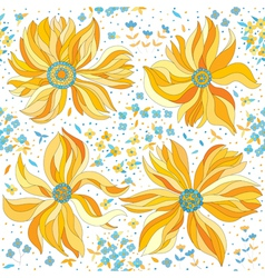 seamless pattern with colorful flowers vector image