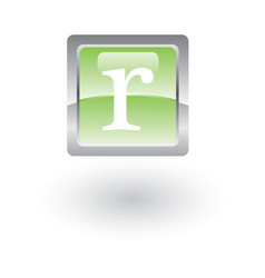square glossy icon letter r vector image