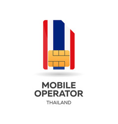 Thailand mobile operator sim card with flag vector