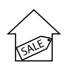 Thin line house for sell icon vector
