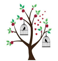 tree floral bird vector image