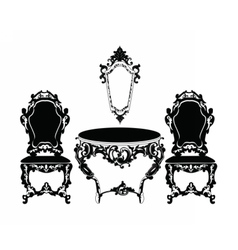 Vintage baroque chair and table vector