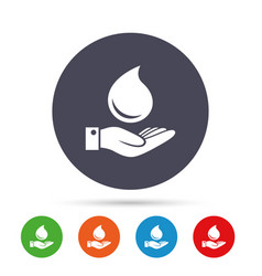 Water drop and hand sign save water symbol vector