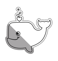 whale cartoon drawing animal vector image vector image