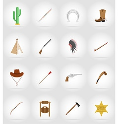 Wild west flat icons 17 vector