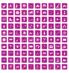 100 kids activity icons set grunge pink vector image vector image