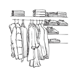 Hand drawn wardrobe sketch clothes on the hangers vector