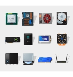 Computer hardware flat icon vector