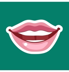 Female cartoon lips with a broad smile icon sign vector image