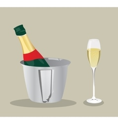 champagne bottle and glass vector image