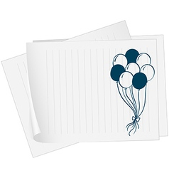 A paper with a drawing of balloons vector image
