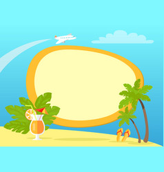 tropical island with palms and yellow flip flops vector image